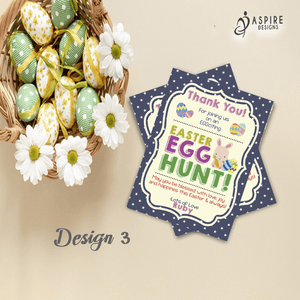 Aspire Designs Personalised Easter Egg Hunt Party Thank You Cards | Easter Thank You Notes 10 / Yes / Design 3