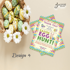 Aspire Designs Personalised Easter Egg Hunt Party Thank You Cards | Easter Thank You Notes 10 / Yes / Design 4
