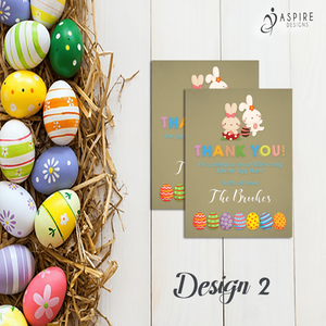 Aspire Designs Personalised Easter Egg Hunt Party Thank You Cards | Favour Notes 10 / Yes / Design 2