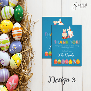Aspire Designs Personalised Easter Egg Hunt Party Thank You Cards | Favour Notes 10 / Yes / Design 3