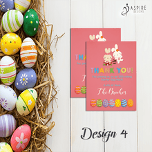 Load image into Gallery viewer, Aspire Designs Personalised Easter Egg Hunt Party Thank You Cards | Favour Notes 10 / Yes / Design 4