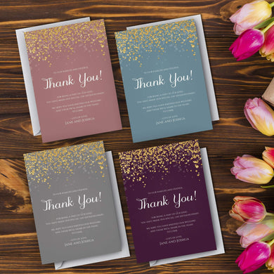 Aspire Designs Personalised Elegant Gold Sparkle Thank You Cards 10 / Yes / Design 1