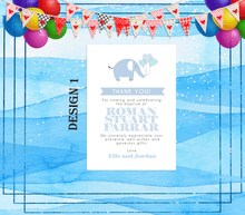Load image into Gallery viewer, Aspire Designs Personalised Elephant Christening | Baptism Thank You Cards for Boy or Girl 10 / Yes / Blue (Boy)