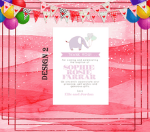 Load image into Gallery viewer, Aspire Designs Personalised Elephant Christening | Baptism Thank You Cards for Boy or Girl 10 / Yes / Pink (Girl)
