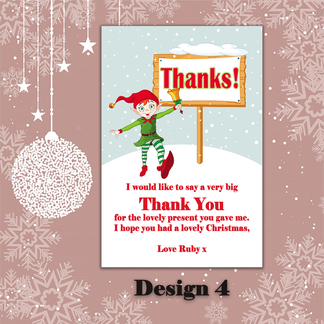 Aspire Designs Personalised Elf Christmas Xmas Thank You Festive Cards 10 / Yes