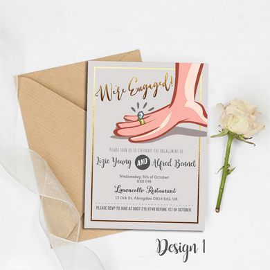 Aspire Designs Personalised Engagement Party Invitations | Hand in Marriage 10 / Yes / Design 1