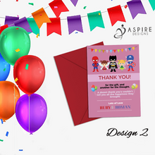Load image into Gallery viewer, Aspire Designs Personalised Fairy Princess and Superhero Birthday Party Thank You Cards 10 / Yes / Design 2