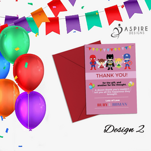 Aspire Designs Personalised Fairy Princess and Superhero Birthday Party Thank You Cards 10 / Yes / Design 2