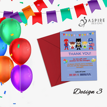 Load image into Gallery viewer, Aspire Designs Personalised Fairy Princess and Superhero Birthday Party Thank You Cards 10 / Yes / Design 3