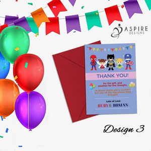 Aspire Designs Personalised Fairy Princess and Superhero Birthday Party Thank You Cards 10 / Yes / Design 3