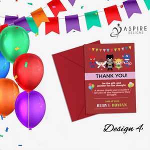 Aspire Designs Personalised Fairy Princess and Superhero Birthday Party Thank You Cards 10 / Yes / Design 4
