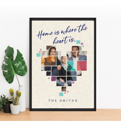 Aspire Designs Personalised Family heart Photo Print with Frame | birthday Anniversary Gift | A1 A2 A3 A4 A5 A6 A6 (14.8 x 10.5cm) / Black Aluminium Frame