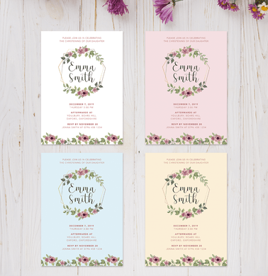 Aspire Designs Personalised Floral Baby Christening Invitations | Boy or Girl 10 / Yes / Design 1