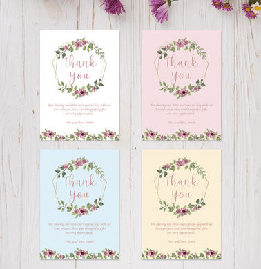 Aspire Designs Personalised Floral Baby Christening Thank You Cards | Boy or Girl 10 / Yes / Design 1