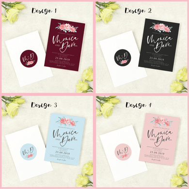 Aspire Designs Personalised Floral Wedding Day / Evening Invitations A6 Double Sided Invites