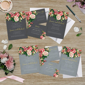 Aspire Designs Personalised Floral Wedding Invitation Set | Day/Evening Invite, RSVP & Info Cards 10 / Yes / Invitation Only