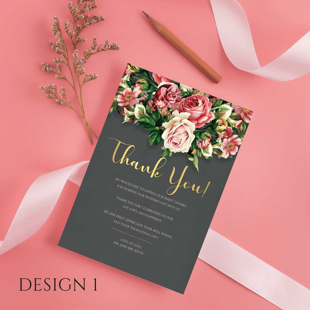 Aspire Designs Personalised Floral Wedding Thank You Cards | Thank You Note with Envelope 10 / Yes / Design 1