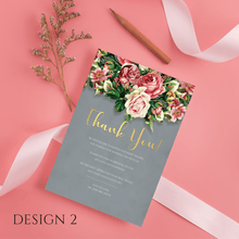 Load image into Gallery viewer, Aspire Designs Personalised Floral Wedding Thank You Cards | Thank You Note with Envelope 10 / Yes / Design 2