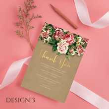 Load image into Gallery viewer, Aspire Designs Personalised Floral Wedding Thank You Cards | Thank You Note with Envelope 10 / Yes / Design 3