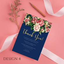 Load image into Gallery viewer, Aspire Designs Personalised Floral Wedding Thank You Cards | Thank You Note with Envelope 10 / Yes / Design 4