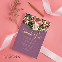 Load image into Gallery viewer, Aspire Designs Personalised Floral Wedding Thank You Cards | Thank You Note with Envelope 10 / Yes / Design 5