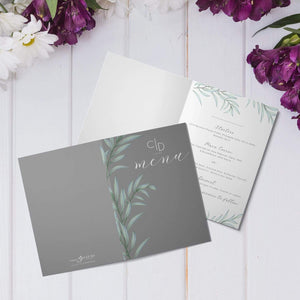 Aspire Designs Personalised Folded A6 Wedding Menu Card Greenery Theme | Wedding Menu Booklet