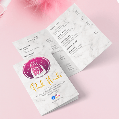 Aspire Designs Personalised Folded Business Cards | Beauty Nails Loyalty Customer Price list