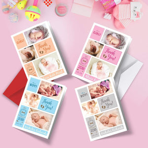 Aspire Designs Personalised Folded New Baby Thank You Cards with Photos (A6) 1 / No / Yes