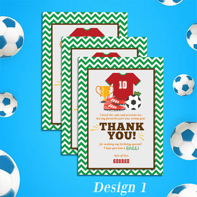 Personalised Football Theme Birthday Party Thank You Cards