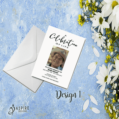 Aspire Designs Personalised Funeral Announcement Cards | Memorial Service Invites 10 / Yes / Design 1