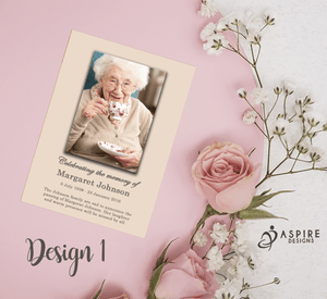 Aspire Designs Personalised Funeral Memorial Bereavement Announcement Cards 10 / Yes