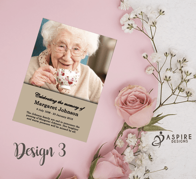 Aspire Designs Personalised Funeral Memorial Service Announcement Cards 10 / Yes