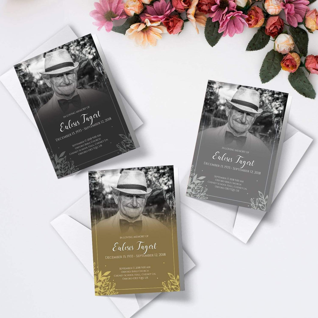 Aspire Designs Personalised Funeral Order of Service Cards | A5 Folded Program Booklet 1 / No / Yes