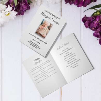 Aspire Designs Personalised Funeral Order of Service Cards | Folded A5 Cards 1 / No / Yes