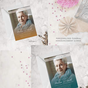 Aspire Designs Personalised Funeral Service Announcement Modern Design | Memorial Service Announcement Card
