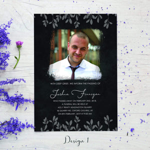 Aspire Designs Personalised Funeral Service Announcement with Photo Cards 10 / Yes / Design 1