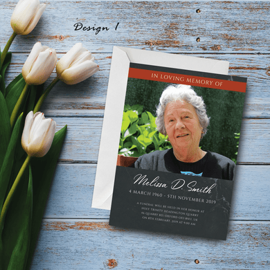Aspire Designs Personalised Funeral Service Announcement with Photo Cards Modern Design 10 / Yes / Design 1