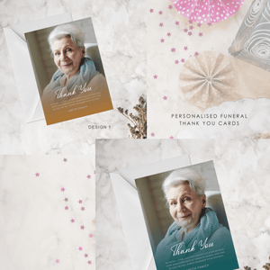 Aspire Designs Personalised Funeral Service Announcement with Photo Cards Modern Design