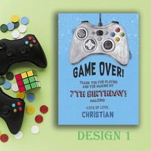 Load image into Gallery viewer, Aspire Designs Personalised Gaming Birthday Party Thank You Cards 10 / Yes / Design 1