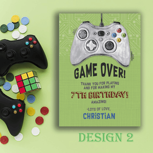 Aspire Designs Personalised Gaming Birthday Party Thank You Cards 10 / Yes / Design 2