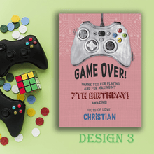 Load image into Gallery viewer, Aspire Designs Personalised Gaming Birthday Party Thank You Cards 10 / Yes / Design 3