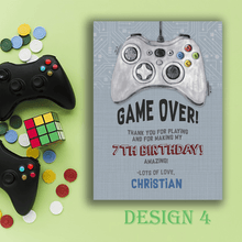 Load image into Gallery viewer, Aspire Designs Personalised Gaming Birthday Party Thank You Cards 10 / Yes / Design 4