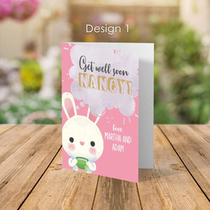 Aspire Designs Personalised Get Well Soon Feel Better Greeting Cards | Folded Greeting Cards Design 1 / Standard (132x185mm) / Gloss Finish