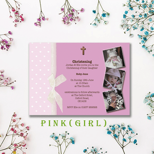 Aspire Designs Personalised Girls | Boys Christening Invitations with Photo Collage 10 / Yes / Pink (Girl)