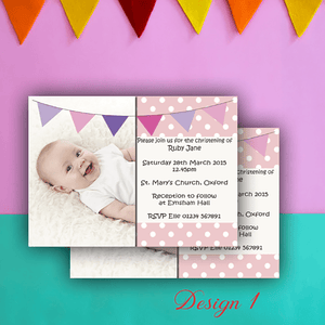 Aspire Designs Personalised Girls Photo Christening | Baptism | Naming Day Invites 10 / Yes