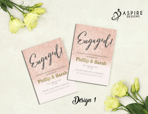 Aspire Designs Personalised Glitter Engagement Party Invitations 10 / Yes / Design 1