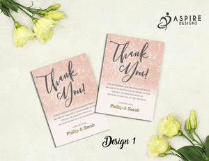 Aspire Designs Personalised Glitter Engagement Party Thank You Cards 10 / Yes / Design 1