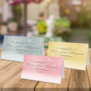 Aspire Designs Personalised Glitter Table Place Name Cards Printed for Weddings, Conferences, Parties Design 1 / 1