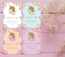 Load image into Gallery viewer, Aspire Designs Personalised Glittery Unicorn Kids Birthday Party Thank You Cards 10 / Yes / Design 1