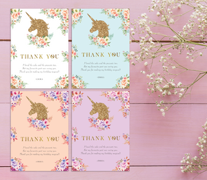 Aspire Designs Personalised Glittery Unicorn Kids Birthday Party Thank You Cards 10 / Yes / Design 1